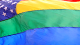 Closeup of rainbow flag
